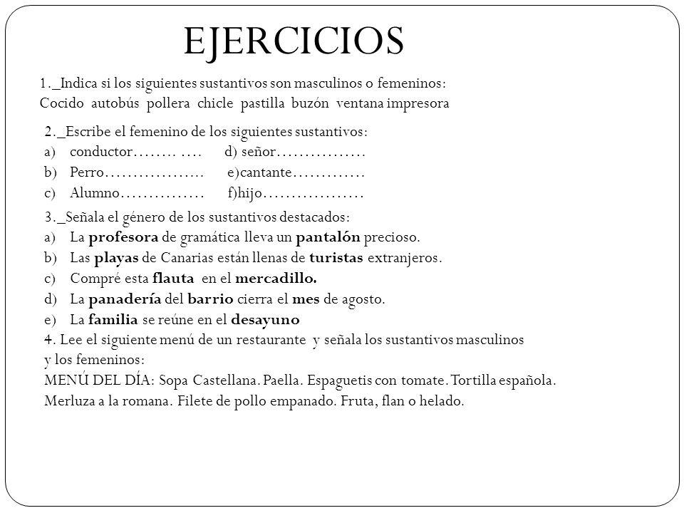 EJERCICIOS 1._Indica si los siguientes sustantivos son masculinos o femeninos: Cocido autobús pollera chicle pastilla buzón ventana impresora 2._Escri