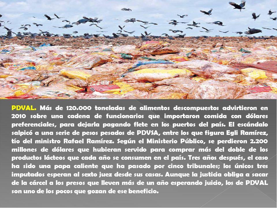 PDVAL. Más de 120.000 toneladas de alimentos descompuestos advirtieron en 2010 sobre una cadena de funcionarios que importaron comida con dólares pref