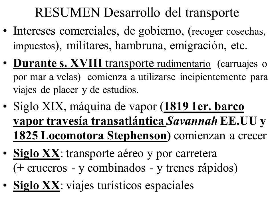 RESUMEN Desarrollo del transporte Intereses comerciales, de gobierno, ( recoger cosechas, impuestos ), militares, hambruna, emigración, etc. Durante s
