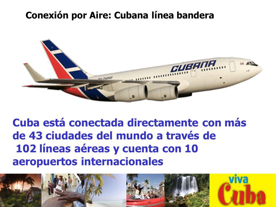 Cuba está conectada directamente con más de 43 ciudades del mundo a través de 102 líneas aéreas y cuenta con 10 aeropuertos internacionales Conexión por Aire: Cubana línea bandera