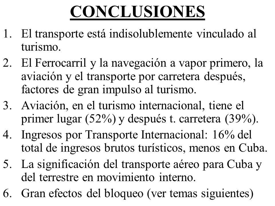 CONCLUSIONES 1.El transporte está indisolublemente vinculado al turismo. 2.El Ferrocarril y la navegación a vapor primero, la aviación y el transporte