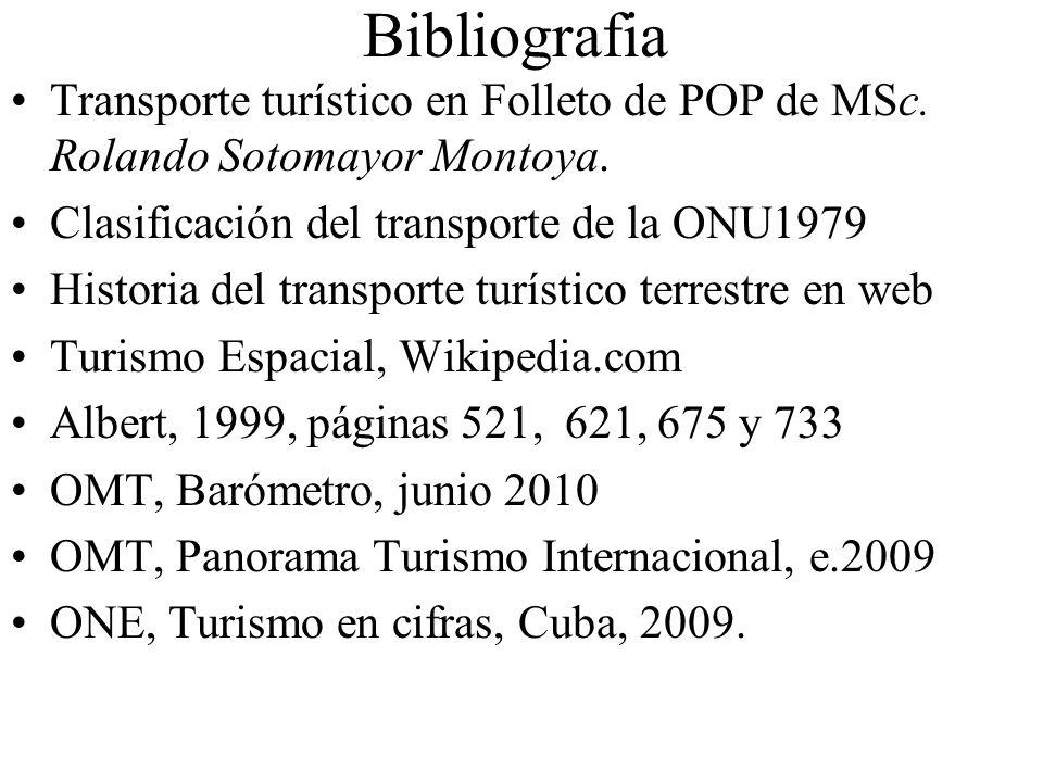 Bibliografia Transporte turístico en Folleto de POP de MSc. Rolando Sotomayor Montoya. Clasificación del transporte de la ONU1979 Historia del transpo