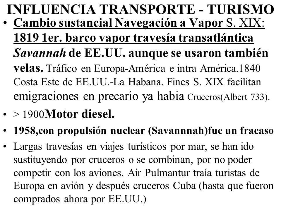 INFLUENCIA TRANSPORTE - TURISMO Cambio sustancial Navegación a Vapor S.