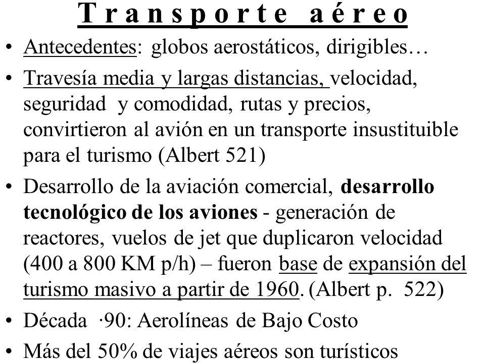 T r a n s p o r t e a é r e o Antecedentes: globos aerostáticos, dirigibles… Travesía media y largas distancias, velocidad, seguridad y comodidad, rutas y precios, convirtieron al avión en un transporte insustituible para el turismo (Albert 521) Desarrollo de la aviación comercial, desarrollo tecnológico de los aviones - generación de reactores, vuelos de jet que duplicaron velocidad (400 a 800 KM p/h) – fueron base de expansión del turismo masivo a partir de 1960.