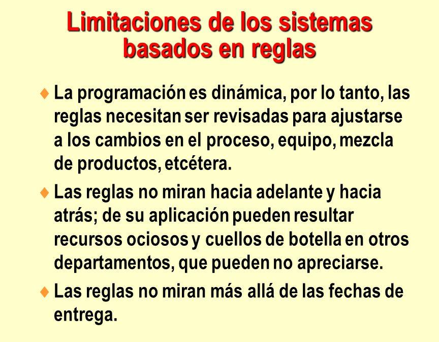 Limitaciones de los sistemas basados en reglas La programación es dinámica, por lo tanto, las reglas necesitan ser revisadas para ajustarse a los camb