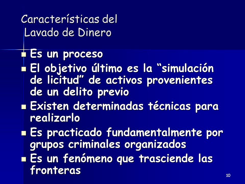 Características del Lavado de Dinero Es un proceso Es un proceso El objetivo último es la simulación de licitud de activos provenientes de un delito p