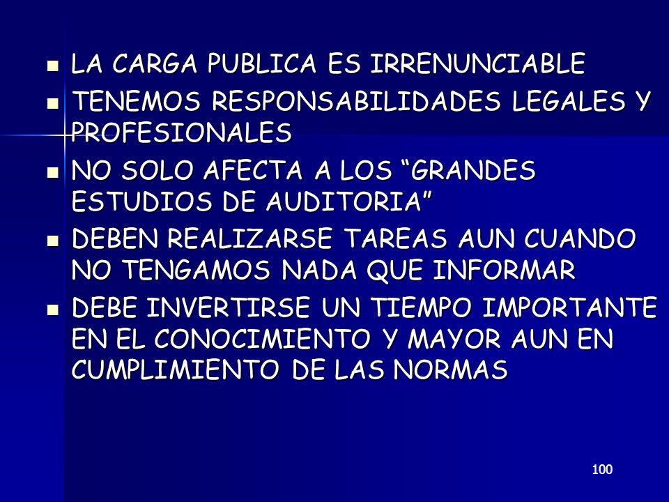 100 LA CARGA PUBLICA ES IRRENUNCIABLE LA CARGA PUBLICA ES IRRENUNCIABLE TENEMOS RESPONSABILIDADES LEGALES Y PROFESIONALES TENEMOS RESPONSABILIDADES LE