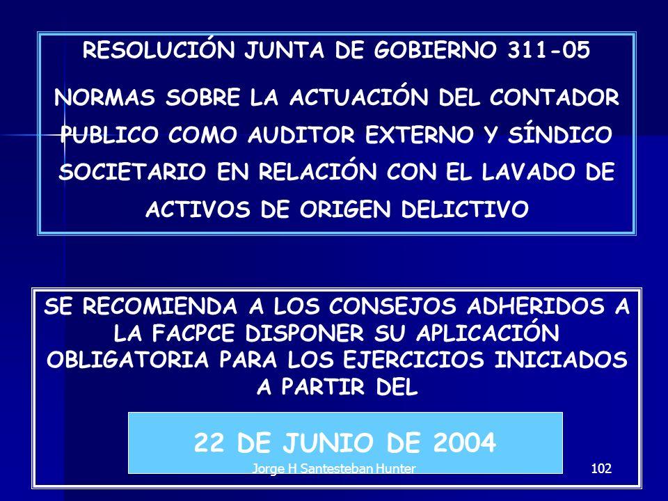 102 RESOLUCIÓN JUNTA DE GOBIERNO 311-05 NORMAS SOBRE LA ACTUACIÓN DEL CONTADOR PUBLICO COMO AUDITOR EXTERNO Y SÍNDICO SOCIETARIO EN RELACIÓN CON EL LA