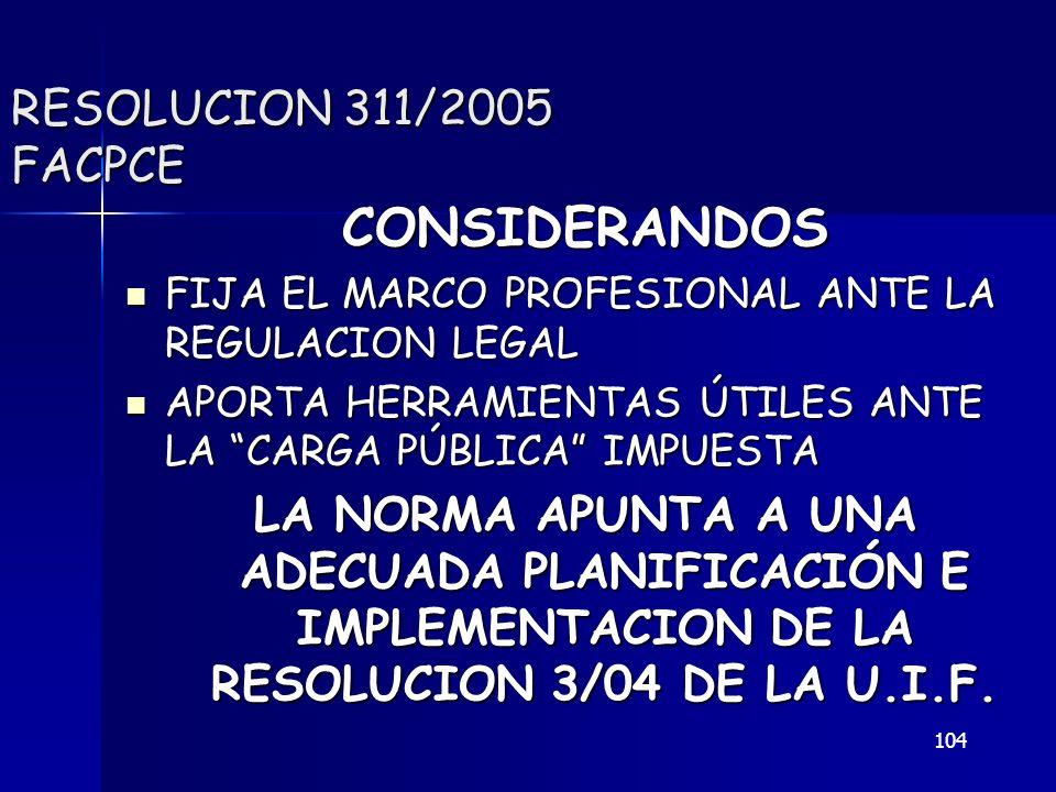 104 RESOLUCION 311/2005 FACPCE CONSIDERANDOS FIJA EL MARCO PROFESIONAL ANTE LA REGULACION LEGAL FIJA EL MARCO PROFESIONAL ANTE LA REGULACION LEGAL APO