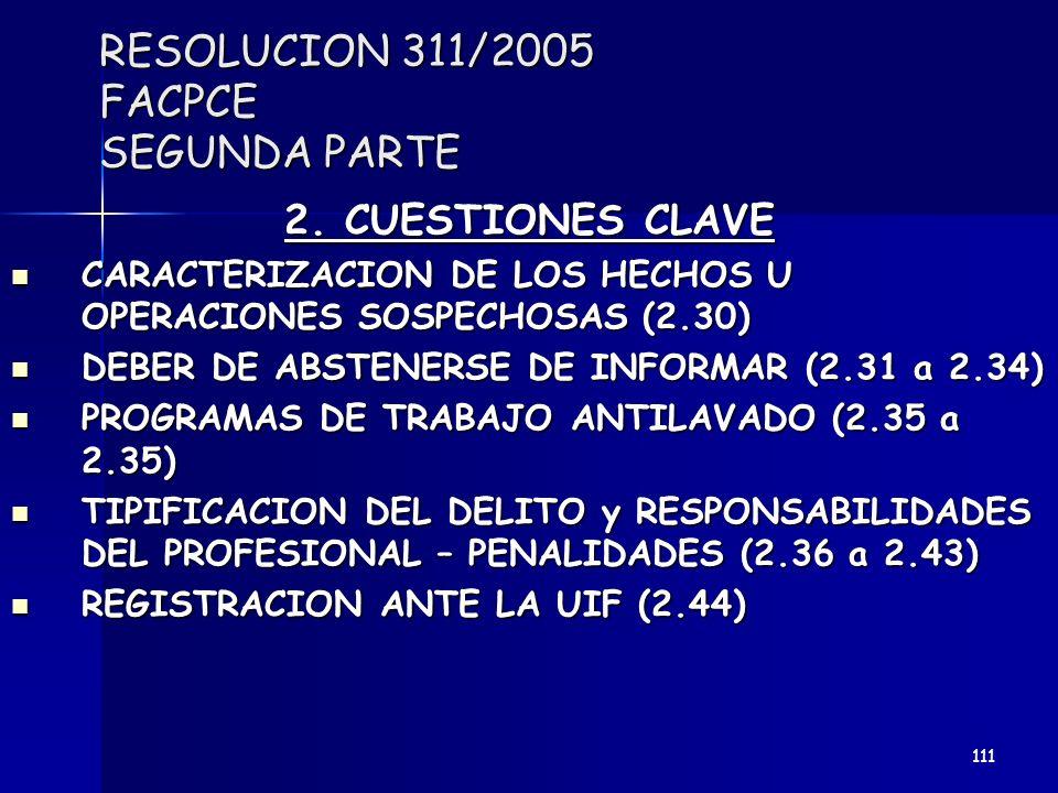 RESOLUCION 311/2005 FACPCE SEGUNDA PARTE 2. CUESTIONES CLAVE CARACTERIZACION DE LOS HECHOS U OPERACIONES SOSPECHOSAS (2.30) CARACTERIZACION DE LOS HEC