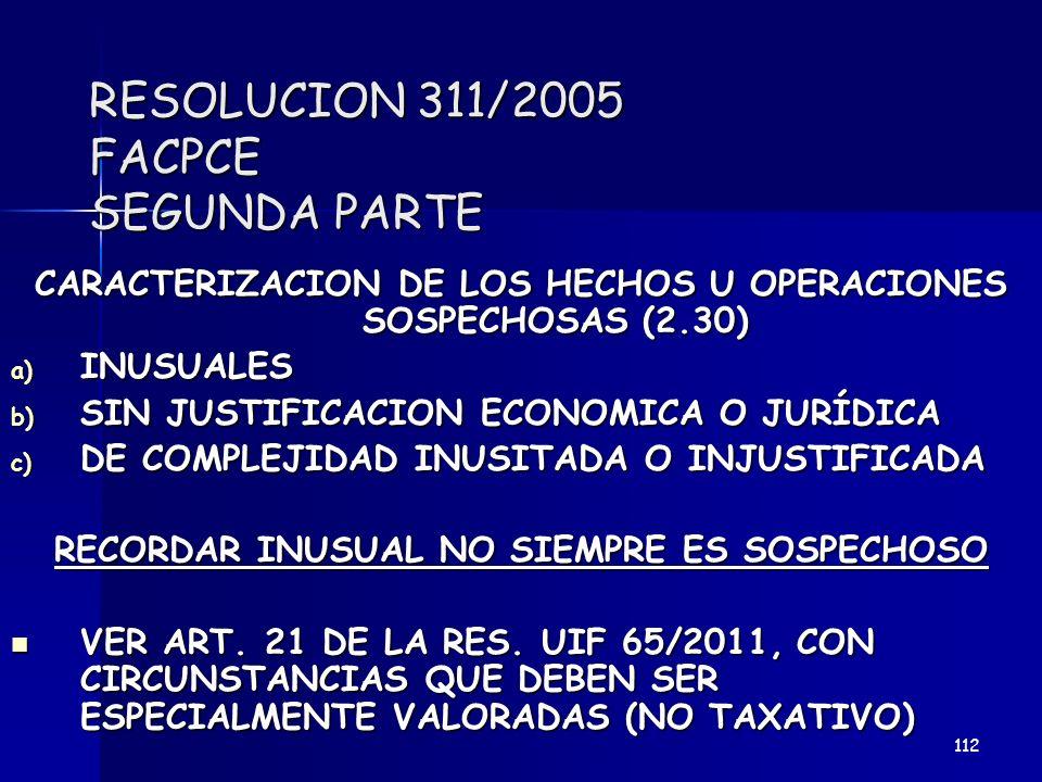 RESOLUCION 311/2005 FACPCE SEGUNDA PARTE CARACTERIZACION DE LOS HECHOS U OPERACIONES SOSPECHOSAS (2.30) a) INUSUALES b) SIN JUSTIFICACION ECONOMICA O