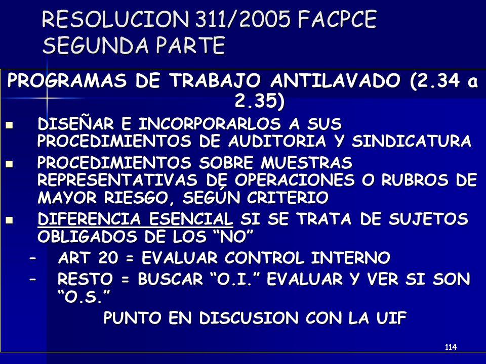 RESOLUCION 311/2005 FACPCE SEGUNDA PARTE PROGRAMAS DE TRABAJO ANTILAVADO (2.34 a 2.35) DISEÑAR E INCORPORARLOS A SUS PROCEDIMIENTOS DE AUDITORIA Y SIN