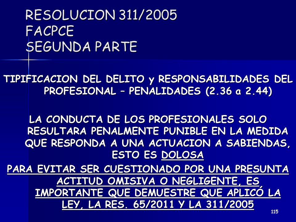 RESOLUCION 311/2005 FACPCE SEGUNDA PARTE TIPIFICACION DEL DELITO y RESPONSABILIDADES DEL PROFESIONAL – PENALIDADES (2.36 a 2.44) LA CONDUCTA DE LOS PR