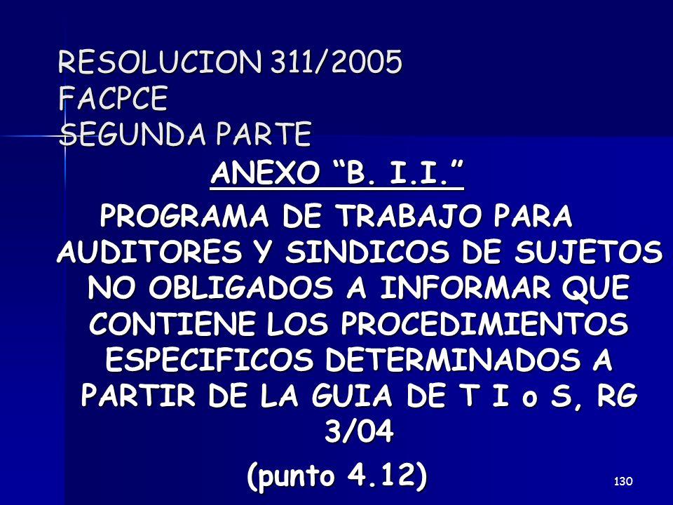 RESOLUCION 311/2005 FACPCE SEGUNDA PARTE ANEXO B. I.I. PROGRAMA DE TRABAJO PARA AUDITORES Y SINDICOS DE SUJETOS NO OBLIGADOS A INFORMAR QUE CONTIENE L