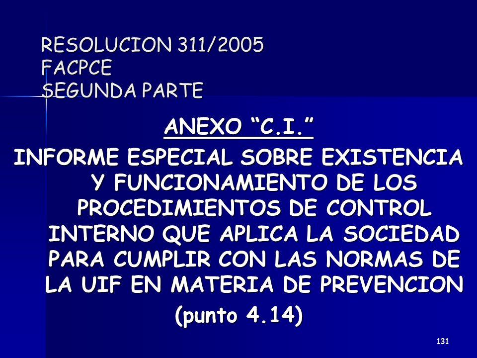RESOLUCION 311/2005 FACPCE SEGUNDA PARTE ANEXO C.I. INFORME ESPECIAL SOBRE EXISTENCIA Y FUNCIONAMIENTO DE LOS PROCEDIMIENTOS DE CONTROL INTERNO QUE AP