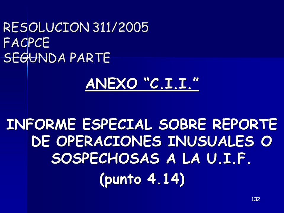 132 RESOLUCION 311/2005 FACPCE SEGUNDA PARTE ANEXO C.I.I. INFORME ESPECIAL SOBRE REPORTE DE OPERACIONES INUSUALES O SOSPECHOSAS A LA U.I.F. (punto 4.1