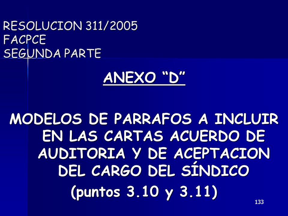 133 RESOLUCION 311/2005 FACPCE SEGUNDA PARTE ANEXO D MODELOS DE PARRAFOS A INCLUIR EN LAS CARTAS ACUERDO DE AUDITORIA Y DE ACEPTACION DEL CARGO DEL SÍ