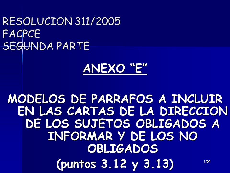134 RESOLUCION 311/2005 FACPCE SEGUNDA PARTE ANEXO E MODELOS DE PARRAFOS A INCLUIR EN LAS CARTAS DE LA DIRECCION DE LOS SUJETOS OBLIGADOS A INFORMAR Y