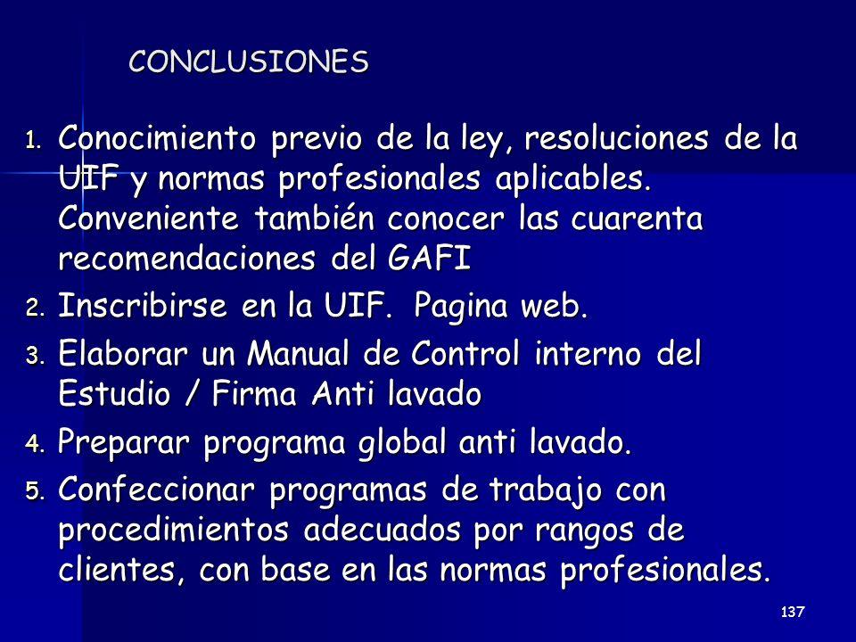CONCLUSIONES 1. Conocimiento previo de la ley, resoluciones de la UIF y normas profesionales aplicables. Conveniente también conocer las cuarenta reco