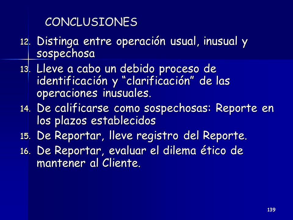CONCLUSIONES 12. Distinga entre operación usual, inusual y sospechosa 13. Lleve a cabo un debido proceso de identificación y clarificación de las oper