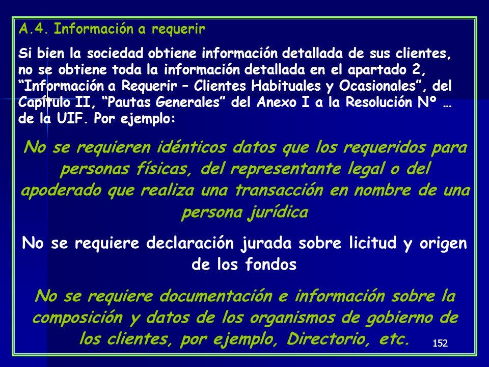 152 A.4. Información a requerir Si bien la sociedad obtiene información detallada de sus clientes, no se obtiene toda la información detallada en el a