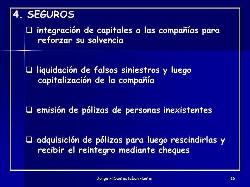 Jorge H Santesteban Hunter16 4. SEGUROS integración de capitales a las compañías para reforzar su solvencia liquidación de falsos siniestros y luego c
