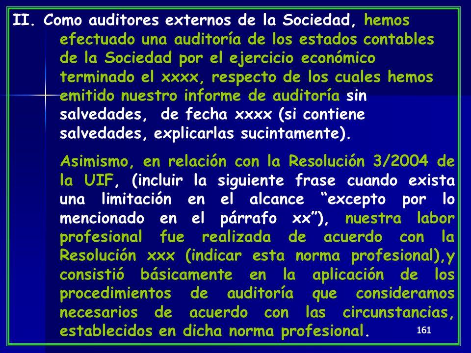 161 II. Como auditores externos de la Sociedad, hemos efectuado una auditoría de los estados contables de la Sociedad por el ejercicio económico termi