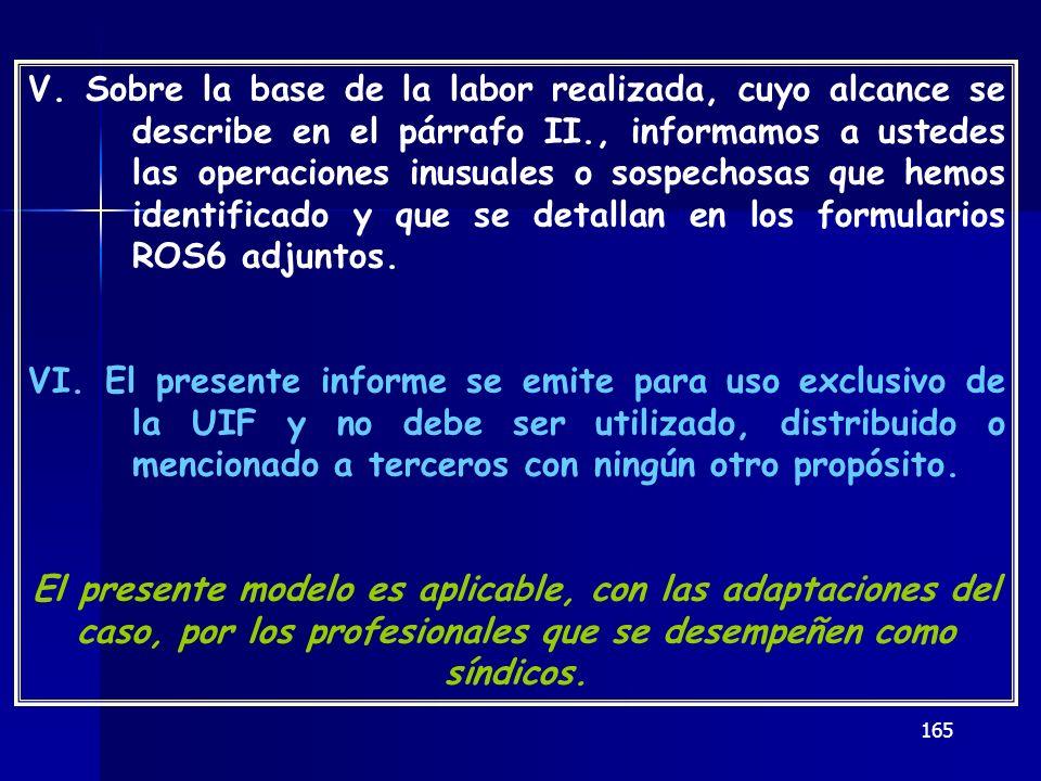 165 V. Sobre la base de la labor realizada, cuyo alcance se describe en el párrafo II., informamos a ustedes las operaciones inusuales o sospechosas q