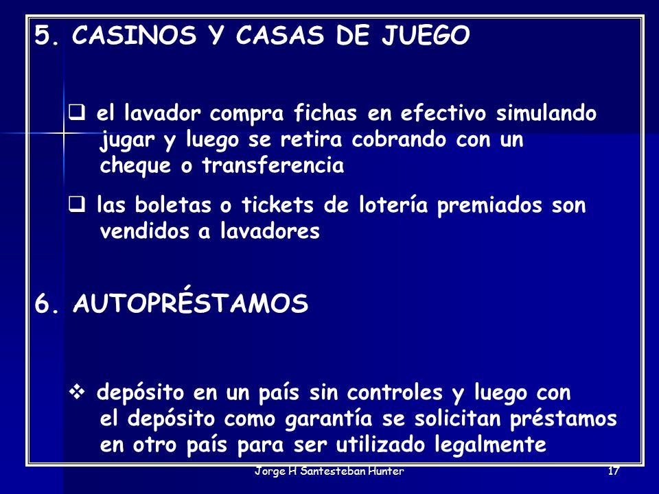 Jorge H Santesteban Hunter17 5. CASINOS Y CASAS DE JUEGO el lavador compra fichas en efectivo simulando jugar y luego se retira cobrando con un cheque