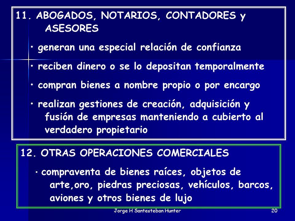 Jorge H Santesteban Hunter20 11. ABOGADOS, NOTARIOS, CONTADORES y ASESORES generan una especial relación de confianza reciben dinero o se lo depositan