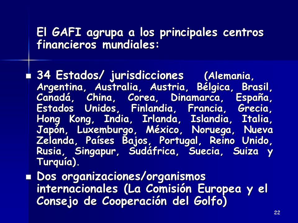 El GAFI agrupa a los principales centros financieros mundiales: El GAFI agrupa a los principales centros financieros mundiales: 34 Estados/ jurisdicci