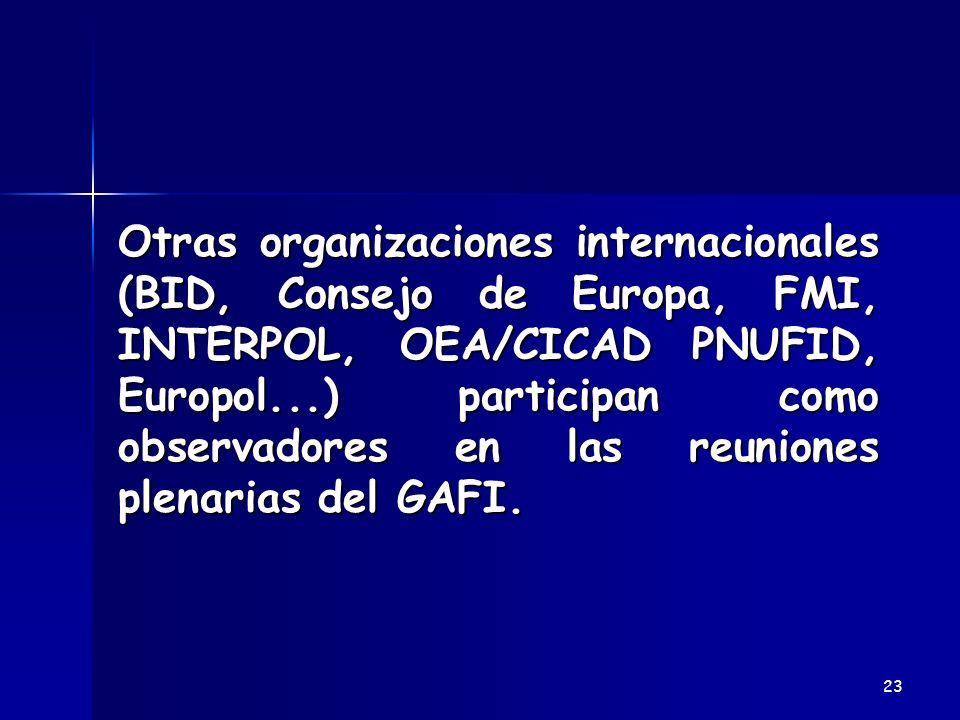 Otras organizaciones internacionales (BID, Consejo de Europa, FMI, INTERPOL, OEA/CICAD PNUFID, Europol...) participan como observadores en las reunion