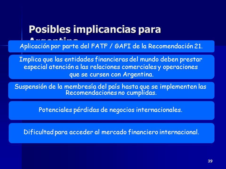 Posibles implicancias para Argentina 39 Potenciales pérdidas de negocios internacionales. Aplicación por parte del FATF / GAFI de la Recomendación 21.