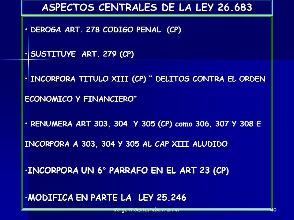 Jorge H Santesteban Hunter40 ASPECTOS CENTRALES DE LA LEY 26.683 DEROGA ART. 278 CODIGO PENAL (CP) SUSTITUYE ART. 279 (CP) INCORPORA TITULO XIII (CP)
