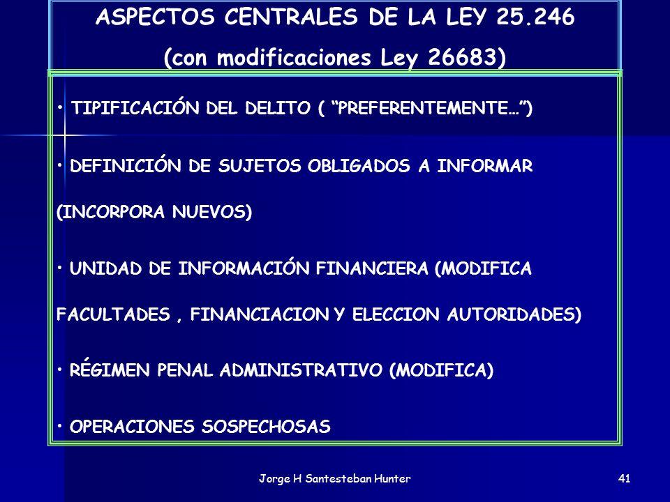 Jorge H Santesteban Hunter41 ASPECTOS CENTRALES DE LA LEY 25.246 (con modificaciones Ley 26683) TIPIFICACIÓN DEL DELITO ( PREFERENTEMENTE…) DEFINICIÓN