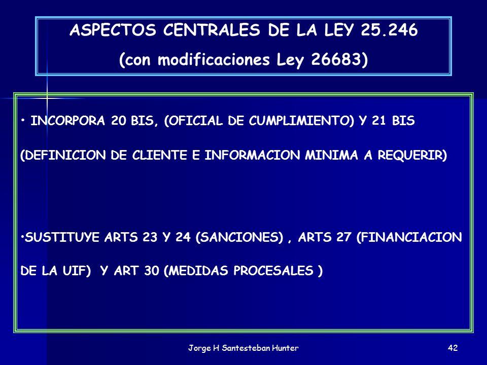Jorge H Santesteban Hunter42 ASPECTOS CENTRALES DE LA LEY 25.246 (con modificaciones Ley 26683) INCORPORA 20 BIS, (OFICIAL DE CUMPLIMIENTO) Y 21 BIS (