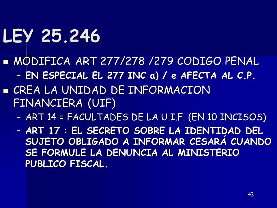 43 LEY 25.246 MODIFICA ART 277/278 /279 CODIGO PENAL MODIFICA ART 277/278 /279 CODIGO PENAL –EN ESPECIAL EL 277 INC a) / e AFECTA AL C.P. CREA LA UNID