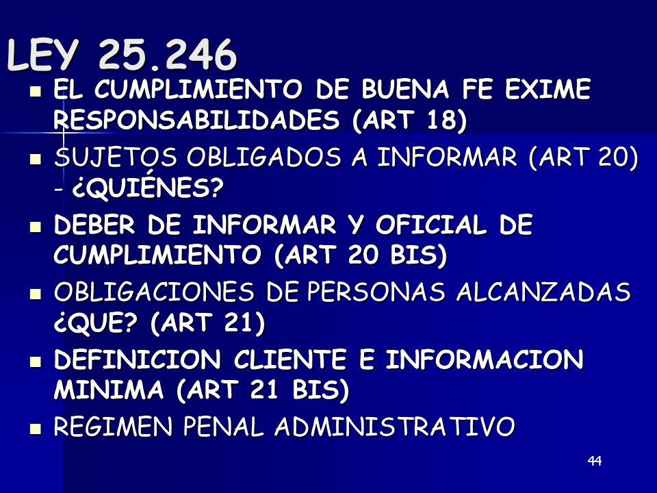 44 LEY 25.246 EL CUMPLIMIENTO DE BUENA FE EXIME RESPONSABILIDADES (ART 18) EL CUMPLIMIENTO DE BUENA FE EXIME RESPONSABILIDADES (ART 18) SUJETOS OBLIGA