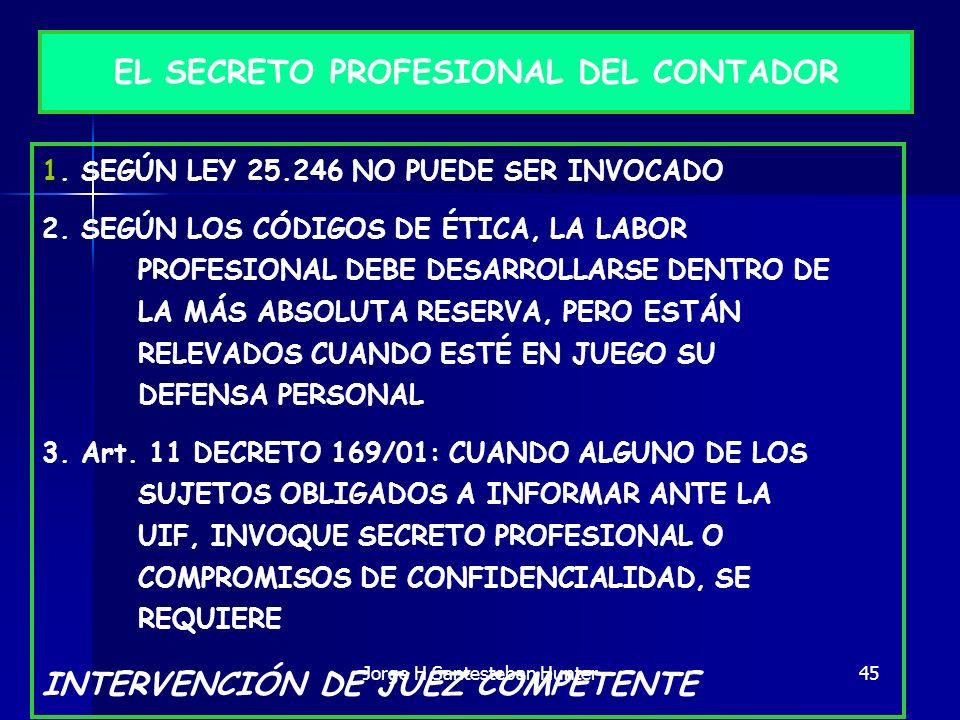 45 EL SECRETO PROFESIONAL DEL CONTADOR 1. SEGÚN LEY 25.246 NO PUEDE SER INVOCADO 2. SEGÚN LOS CÓDIGOS DE ÉTICA, LA LABOR PROFESIONAL DEBE DESARROLLARS