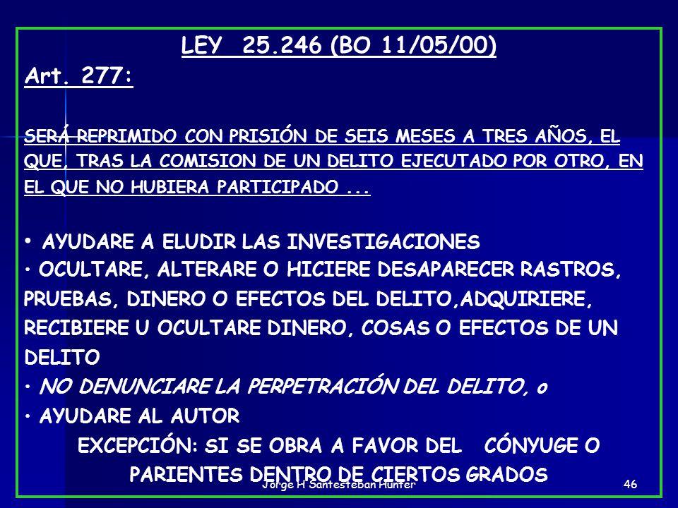 46 LEY 25.246 (BO 11/05/00) Art. 277: SERÁ REPRIMIDO CON PRISIÓN DE SEIS MESES A TRES AÑOS, EL QUE, TRAS LA COMISION DE UN DELITO EJECUTADO POR OTRO,