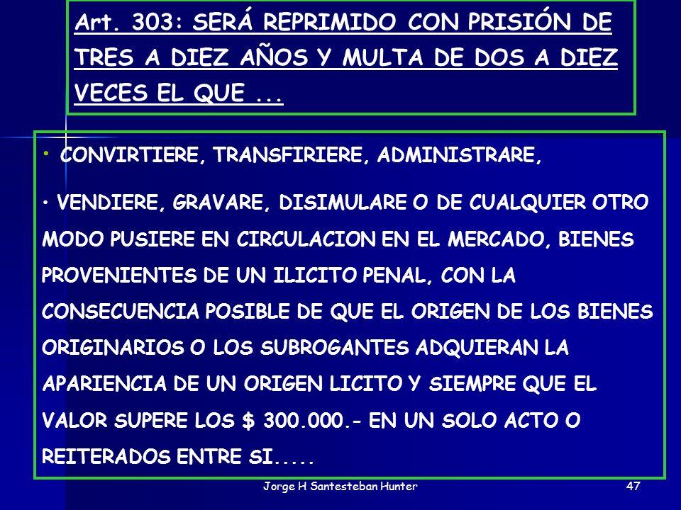 Jorge H Santesteban Hunter47 CONVIRTIERE, TRANSFIRIERE, ADMINISTRARE, VENDIERE, GRAVARE, DISIMULARE O DE CUALQUIER OTRO MODO PUSIERE EN CIRCULACION EN