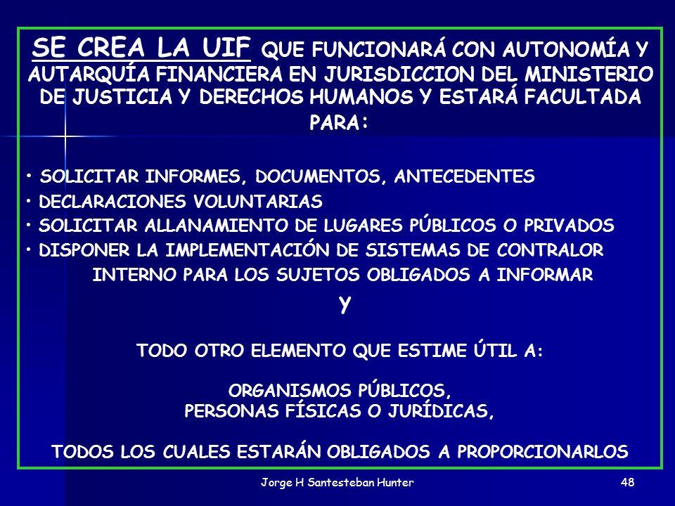 Jorge H Santesteban Hunter48 SE CREA LA UIF QUE FUNCIONARÁ CON AUTONOMÍA Y AUTARQUÍA FINANCIERA EN JURISDICCION DEL MINISTERIO DE JUSTICIA Y DERECHOS