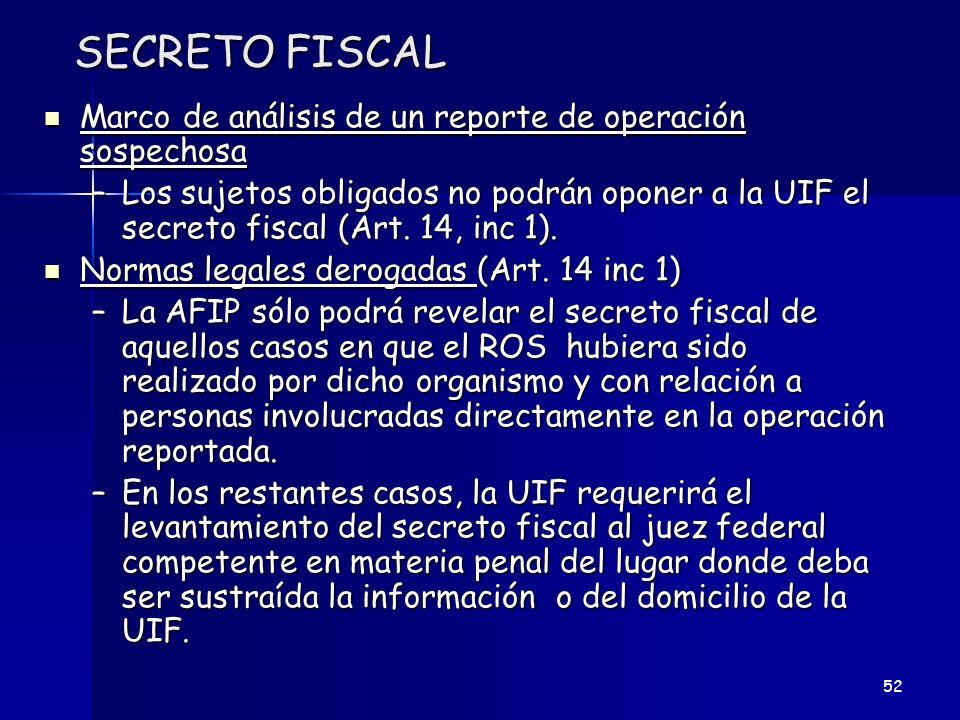 SECRETO FISCAL Marco de análisis de un reporte de operación sospechosa Marco de análisis de un reporte de operación sospechosa –Los sujetos obligados