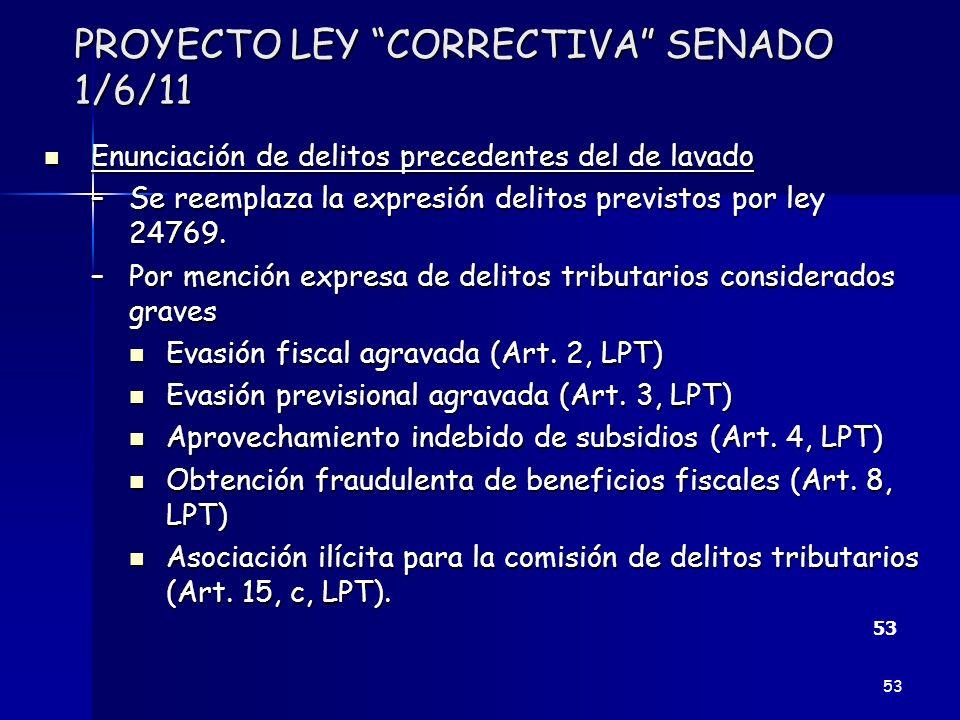 PROYECTO LEY CORRECTIVA SENADO 1/6/11 Enunciación de delitos precedentes del de lavado Enunciación de delitos precedentes del de lavado –Se reemplaza