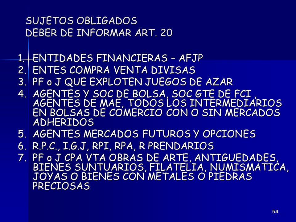 SUJETOS OBLIGADOS DEBER DE INFORMAR ART. 20 1.ENTIDADES FINANCIERAS – AFJP 2.ENTES COMPRA VENTA DIVISAS 3.PF o J QUE EXPLOTEN JUEGOS DE AZAR 4.AGENTES
