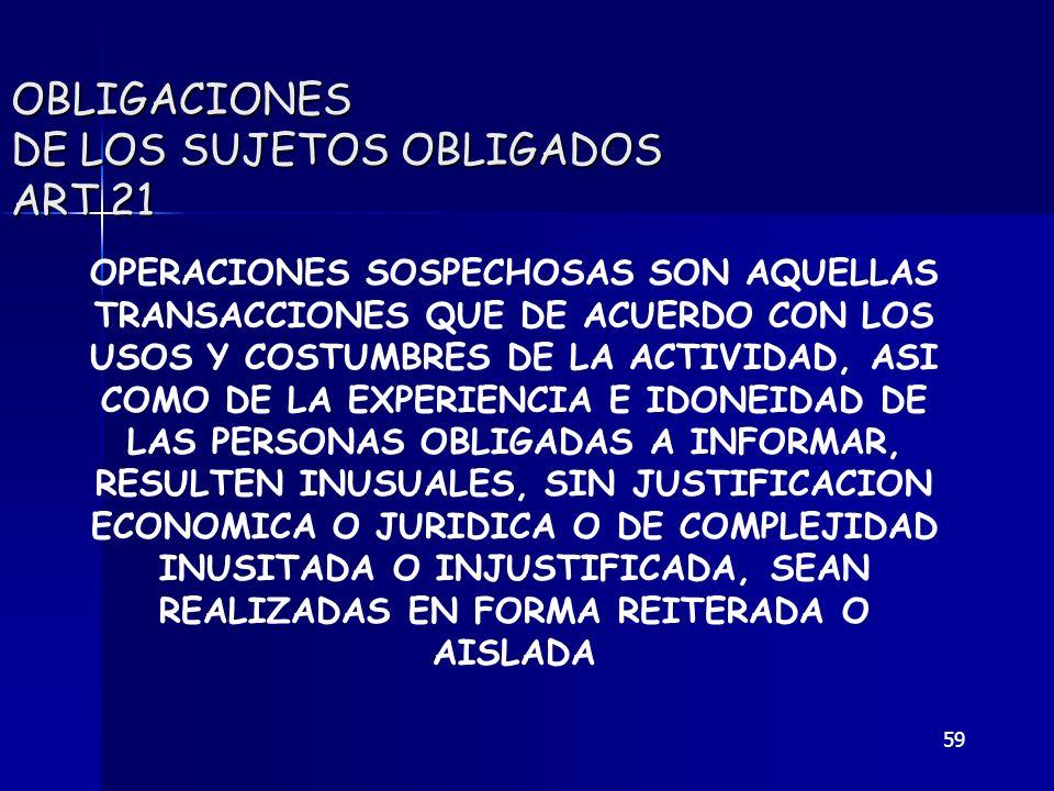 59 OBLIGACIONES DE LOS SUJETOS OBLIGADOS ART 21 OPERACIONES SOSPECHOSAS SON AQUELLAS TRANSACCIONES QUE DE ACUERDO CON LOS USOS Y COSTUMBRES DE LA ACTI