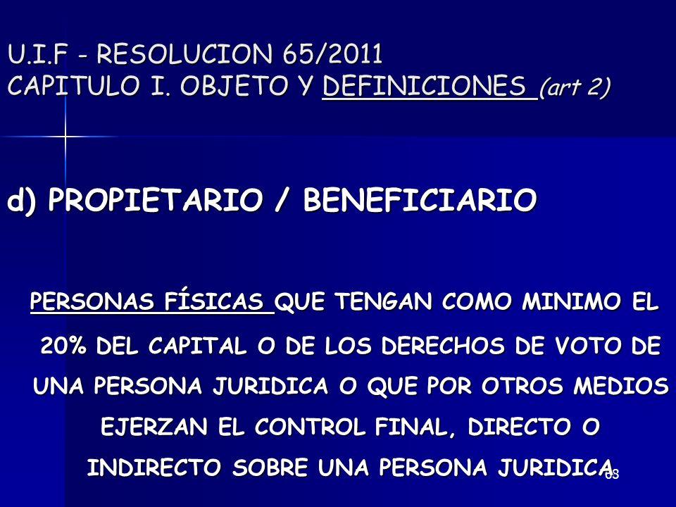 68 U.I.F - RESOLUCION 65/2011 CAPITULO I. OBJETO Y DEFINICIONES (art 2) d) PROPIETARIO / BENEFICIARIO PERSONAS FÍSICAS QUE TENGAN COMO MINIMO EL 20% D