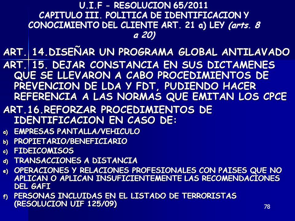 78 ART. 14.DISEÑAR UN PROGRAMA GLOBAL ANTILAVADO ART. 15. DEJAR CONSTANCIA EN SUS DICTAMENES QUE SE LLEVARON A CABO PROCEDIMIENTOS DE PREVENCION DE LD