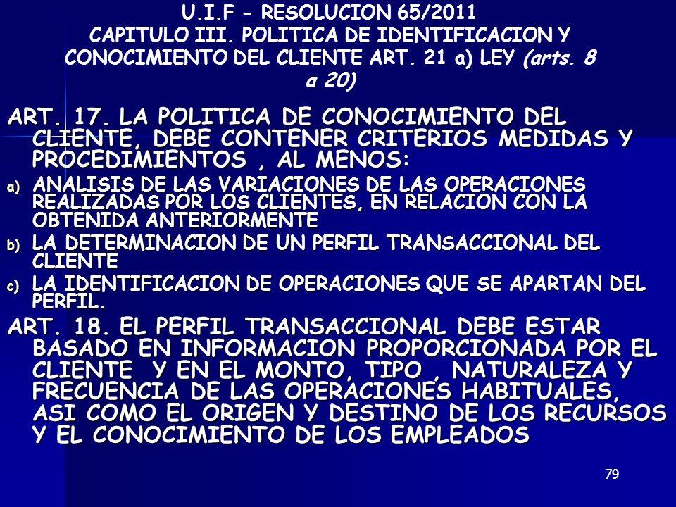 79 ART. 17. LA POLITICA DE CONOCIMIENTO DEL CLIENTE, DEBE CONTENER CRITERIOS MEDIDAS Y PROCEDIMIENTOS, AL MENOS: a) ANALISIS DE LAS VARIACIONES DE LAS