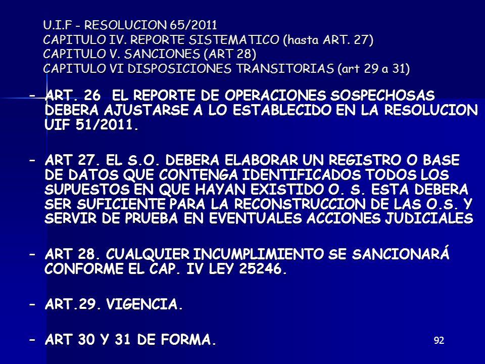 92 U.I.F - RESOLUCION 65/2011 CAPITULO IV. REPORTE SISTEMATICO (hasta ART. 27) CAPITULO V. SANCIONES (ART 28) CAPITULO VI DISPOSICIONES TRANSITORIAS (